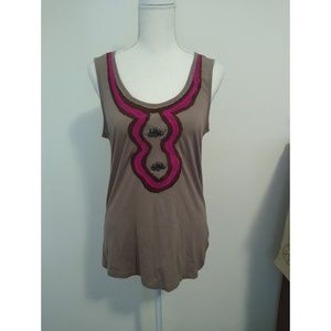 Merona Size M brown and pink beaded tank top